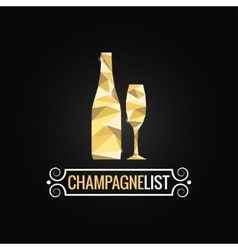 champagne bottle poly design background vector image vector image