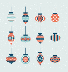 christmas ornaments ball element set vector image