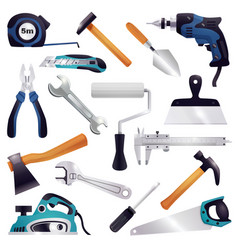 construction renovation carpentry tools set vector image