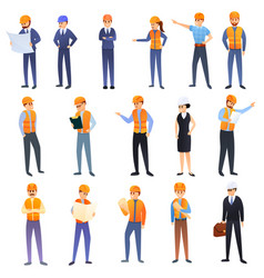 Contractor icons set cartoon style vector