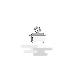 cooking pot web icon flat line filled gray icon vector image