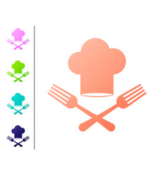 Coral chef hat and crossed fork icon isolated on vector