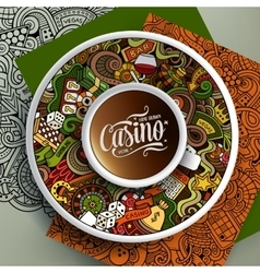 Cup of coffee Casino doodles on a saucer paper vector image