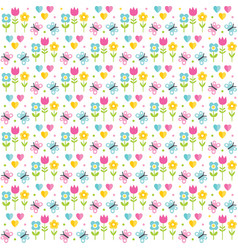 cute seamless spring easter background pattern vector image