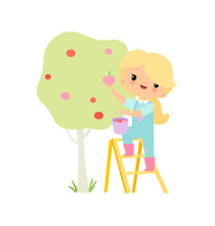 cute young girl in overalls and rubber boots vector image