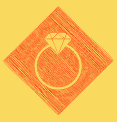 diamond sign red scribble vector image
