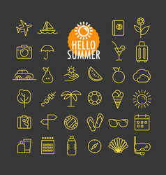 different summer icons collection web and mobile vector image