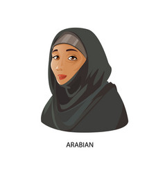 Digital funny cartoon arabian woman vector