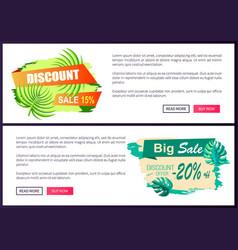 Discount sale off summer web advertisement labels vector