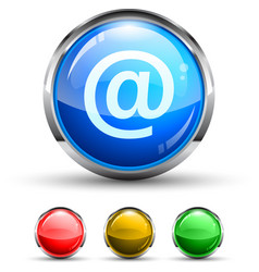 email glossy button vector image