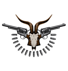 emblem with two old revolvers bullets and skull vector image
