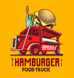 food truck hamburger burger fast delivery service vector image