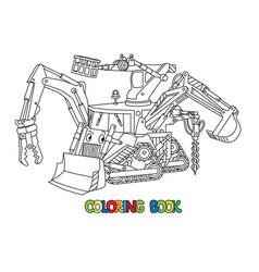 Funny small bulldozer multi tool coloring book vector