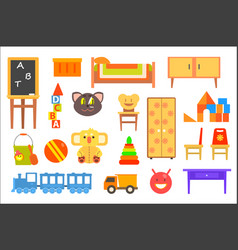 furniture and toys for childrens rooms vector image