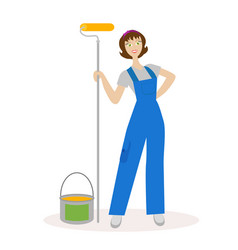 Girl painter with a paint roller and paint bucket vector