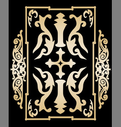 Gold ancient vintage ornament on black background vector