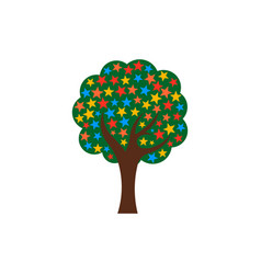 green tree with stars logo vector image