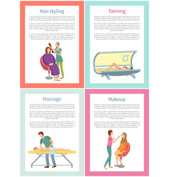 Hair styling tanning and massage posters vector