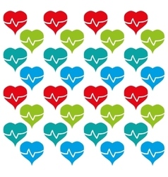 heart rate colored design seamless pattern vector image