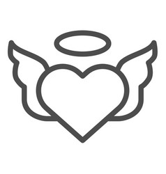 heart with pair of wings line icon valentines vector image