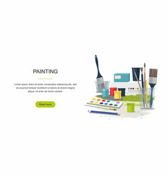Hobby painting web banner paints brushes vector