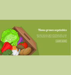 Home vegetables banner horizontal cartoon style vector