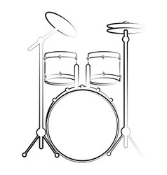 Isolated drum set outline musical instrument vector