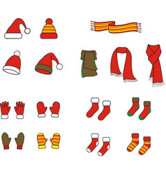 knitted christmas cap scarf gloves mittens vector image