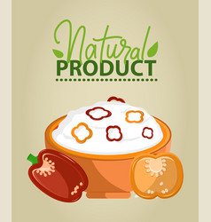 Natural product meal in bowl salad and bell pepper vector