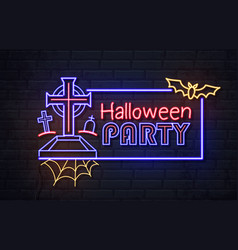 neon sign halloween party with cemetery vector image