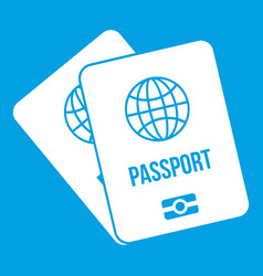 Passports with map icon white vector