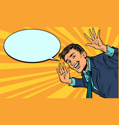 Pop art comic businessman greets and smiles vector