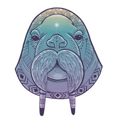 poster with walrus totem vector image