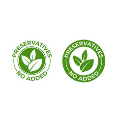 Preservatives no added green organic leaf icon vector