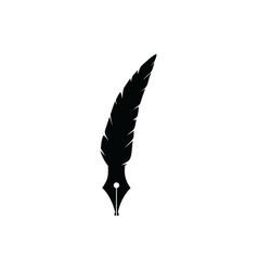 Quill feather pen logo design vector