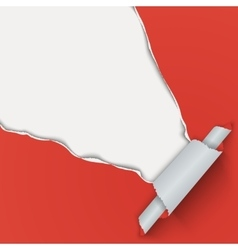 Red background with torn paper from the corner vector
