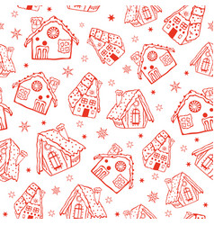 Red gingerbread houses seamless pattern vector