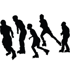 roller skaters collection vector image