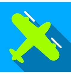 Screw aeroplane flat long shadow square icon vector