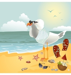 Seagull on beach looking through binoculars vector