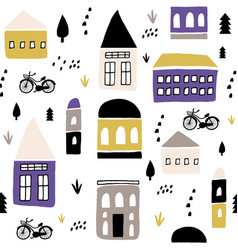 seamless childish pattern with hand drawn houses vector image
