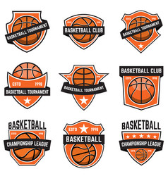 Set basketball sport emblems design element vector