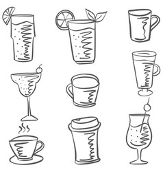Set drink various of doodles vector