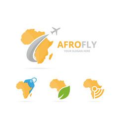 Set of africa logo combination safari and travel vector