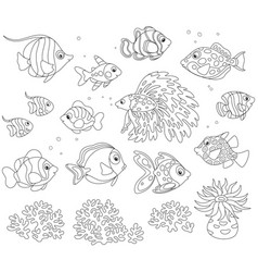 Set of fishes vector