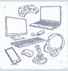 Set of hand drawn icons of computer vector
