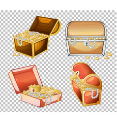 Set treasure chest isolated on transparent vector