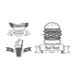 set vintage fast food restaurant signs panel vector image