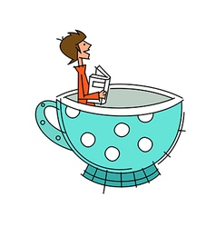 Side view of boy sitting in cup vector