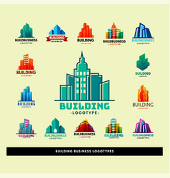 Skyscrapers buildings label tower office city vector